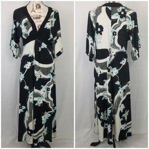 En Focus Flutter Slit Sleeve Stretchy Maxi Dress
